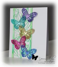 Burst of color with foil and vellum butterflies.... card by Diana Nguyen