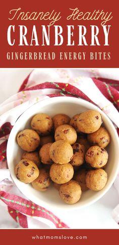 No‐Bake Gingerbread Cranberry Protein Balls The Best Healthy Gingerbread Cranberry Energy Bites Recipe Protein Bites, Protein Ball, Energy Bites, Low Calorie Snacks, Healthy Snacks, Snacks Kids, Vegetarian Snacks, Healthy Eats, Meals Kids Love