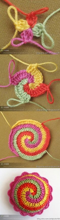 "Crochet Stitches Ideas Spiral crochet tutorial - You've seen already this cushion on my ""Pinky"", and now is time to chat about it! I've seen this crochet stitch (spiral stitch, you can find a tutorial here or there) and I … Mandala Au Crochet, Spiral Crochet, Crochet Diy, Crochet Amigurumi, Crochet Motifs, Freeform Crochet, Crochet Squares, Love Crochet, Crochet Crafts"