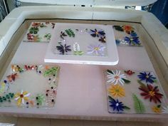 Stacking the kiln.  Fused+Glass+Projects | fused glass project ideas | Express Your ... | Glass Tiles and Glass ...