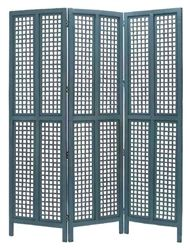 "Blue Cottage Wood Room Divider 3 Panel Carved  New. In blue colors one of the best room divider screen for your home. Magnificiently hand made by reputable artisans. This wood screen is done in hardwood. This 3 panel room divider is 60"" high and 59"" wide. Great add on for any room decor"