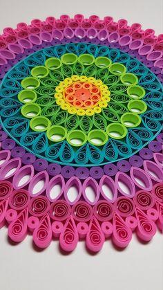 Paper Quilled Mandala - - Handmade Items , Paper Quilled Mandala - Papier Quilling Mandala 9 x 9 Papier-Quilling. Neli Quilling, Paper Quilling Patterns, Origami And Quilling, Quilled Paper Art, Quilling Paper Craft, Paper Crafting, Paper Quilling Tutorial, Paper Paper, Mandala Origami