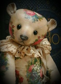 """Truly Thine"" a 14 inch scrapbook inspired traditional teddy bear by Humble-Crumble Bears"