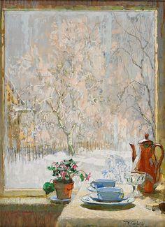 "post-impressionism: "" Through the Window in Winter Konstantin Gorbatov "" Window Art, Window View, Through The Window, Russian Art, Coffee Art, Coffee Shop, Impressionist, Art Photography, Art Gallery"