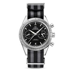 OMEGA brand NATO strap - polyamide 5-stripe black & grey.