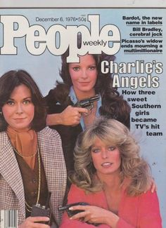 Charlie's Angels - 1976 PEOPLE magazine w/ Farrah, Kate, Jaclyn- Great condition