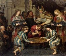 The Anointing of Solomon by Cornelis de Vos (Solomon, youngest son of King David and Bathsheba, became the 3rd king of Israel and reigned for 40 years.) According to the Talmud, King Solomon was credited with writing Proverbs first, then Ecclesiastes, and then Song of Songs (Solomon).