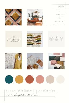 Warm Brand Design for Jenny Drake Designs Gold Color Palettes, Modern Color Palette, Green Colour Palette, Desert Colors, Color Inspiration, Brand Inspiration, Moodboard Inspiration, Boho Chic, Modern Bohemian