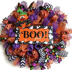 halloween deco mesh wreath boo sign deco by EverydaySplendor