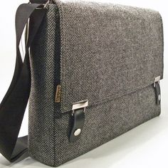 Stash messenger / 15 inch laptop bag - black and white herringbone wool    Very sharp blend of modern and classic.