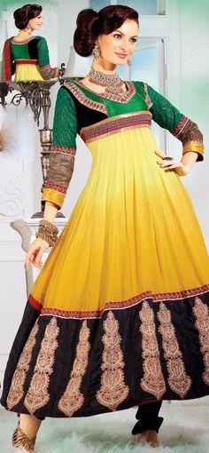 Aesthetic Black and Yellow Faux Georgette Anarkali Salwar Kameez - IG6995 USD $ 70.94