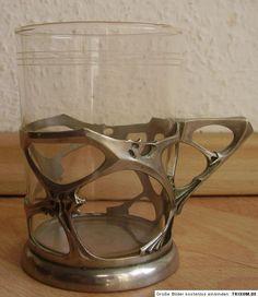 6 Antike Jugendstil Tee Gläser + Halter um 1900 WMF?