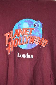 Planet Hollywood London Mens XL T-shirt Short Sleeve Crew Neck Maroon Graphic Prints, Graphic Tees, Planet Hollywood, Mens Xl, Planets, Crew Neck, London, Sleeve, T Shirt