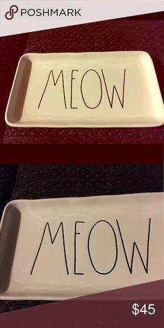 Rae Dunn Meow Tray Platter Small Cat Rae Dunn Meow  Trinket Tray Small Cat lover Kitten cat lover Rae Dunn Other