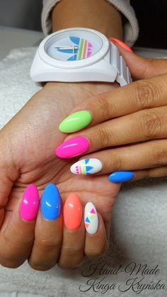 by Kinga Kryńska :) Follow us on Pinterest. Find more inspiration at www.indigo-nails.com #nailart #nails #indigo #neon #adidas #summer #sport