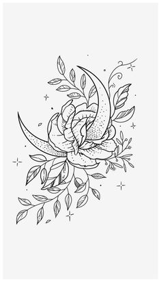 Flower Outline Tattoo, Tattoo Outline Drawing, Tattoo Design Drawings, Outline Drawings, Flower Tattoo Designs, Tattoo Sketches, Flower Tattoos, Drawing Art, Flower Design Drawing