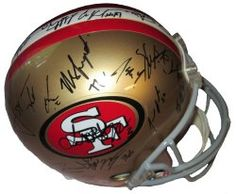 SOLD OUT! 2012 SF 49ers team signed Riddell full size football helmet w/ proof photo.  Proof photo of the 49ers signing will be included with your purchase along with a COA issued from Southwestconnection-Memorabilia, guaranteeing the item to pass authentication services from PSA/DNA or JSA. Free USPS shipping. www.AutographedwithProof.com is your one stop for autographed collectibles from San Francisco sports teams. Check back with us often, as we are always obtaining new items.
