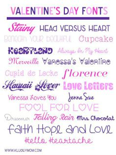 Valentine's Day crafts or projects? You'll need this collection of Valentine's Day fonts for your projects, blogging, etc. Most are free to use!