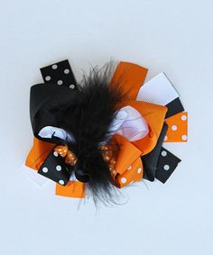 Take a look at this Orange & BlackSpooky Bow Clip by Diva Daze on #zulily today!