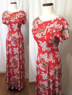 fc1343ff3409 Best Ever 1950's XL Paki Muu Hawaiian Dress Made in Honolulu by