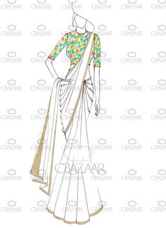 Buy DIY White Italian Crepe Saree online from the wide collection of sari. This White colored sari in Faux Crepe fabric goes well with any occasion. Shop online Designer sari from cbazaar at the lowest price. Dress Design Sketches, Fashion Design Sketchbook, Fashion Design Drawings, Fashion Sketches, Fashion Illustration Template, Fashion Illustration Dresses, Dress Illustration, Fashion Illustrations, Fashion Drawing Dresses