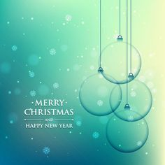christmas ball in turquoise background Free Vector
