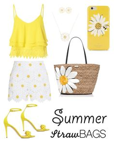 """""""Straw bags and summer daisy's"""" by dehoyos ❤ liked on Polyvore featuring Kate Spade, Dolce&Gabbana, Glamorous, Alison Lou, J.Crew and strawbags"""