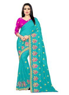Silk Blue Designer Saree Silk Sarees, Sari, Embroidered Silk, Amazon, Unique, Color, Collection, Fashion, Saree