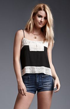 House of Harlow Hook and Eye Front Crochet Trim Cami Tank Top. #HoH1960 #pacsun