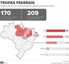 Ao menos 170 cidades do país contarão com apoio de tropas federais na eleição glo.bo/1rfbfmB