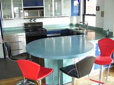 Bright, Round Bar Concrete Countertops Oso Industries New York, NY