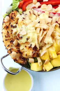 Pina Colada Chicken Salad with Pina Colada Vinaigrette - Creme De La Crumb Chicken Salad With Apples, Clean Eating, Healthy Eating, Healthy Food, Cooking Recipes, Healthy Recipes, Summer Salads, Soup And Salad, Gastronomia