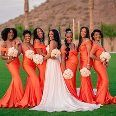 are so many important parts to a wedding; from the brides wedding dress and accessories to the gr Orange Bridesmaid Dresses, Orange Wedding Dresses, Bridesmaid Hair, Prom Hair, African American Weddings, Brides And Bridesmaids, Black Bridesmaids Hairstyles, Wedding Hairstyles, Quinceanera Hairstyles