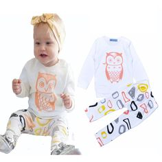 INS children clothing set spring fall style baby girl clothing Owl T-Shirt+ Graffiti pants INS baby girl clothes brand infantil