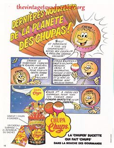 ... and yet another French eighties ad! This time for Chupa Chups lollipops. Yumm. Did you know that Salvador Dali designed the daisy-like Chupa Chups logo? He really did, and his design is still used to this day. Go check out Whiskeypedia or something if you don't believe us :-)