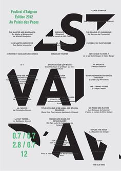 """1- poster Si percepisce bene la gerarchia e la composizione è ordinata semplice, ma non banale. Il taglio di """"Festival D'Avignone"""" attira l'occhio dell'osservatore."""