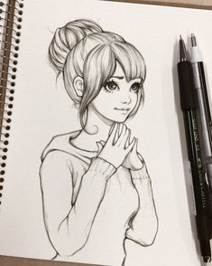 Student girl - sketch by ohayorinka drawing tips, drawing sketches, drawing Easy Pencil Drawings, Pencil Sketch Drawing, Cute Girl Drawing, Girly Drawings, Anime Drawings Sketches, Art Drawings Sketches Simple, Anime Sketch, Drawing Ideas, Tumblr Girl Drawing