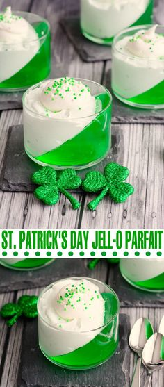 This St. Patrick's Day Jell-o Parfait is so simple to make but it looks absolutely stunning! This St. Patrick's Day Jell-o Parfait is so simple to make but it looks absolutely stunning! Jello Parfait, Holiday Desserts, Holiday Treats, Holiday Recipes, Green Desserts, Cold Desserts, Christmas Snacks, Holiday Fun, Jello Recipes