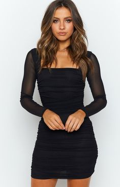 Estee Long Sleeve Mesh Party Dress Black – Beginning Boutique Black Dress Outfits, Black Party Dresses, Hoco Dresses, Tight Dresses, Dress Black, Black Long Sleeve Dress, Short Black Dresses, Long Sleeved Dress, Black Homecoming Dresses