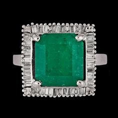 An emerald, app. 4.50 cts, and baguette cut diamond ring, tot. app. 1 ct. 18k white gold. Size 17/53.. - Vintage & Jewellery, Stockholm S200 – Bukowskis