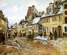 "artist-pissarro: "" Pontoise, the Road to Gisors in Winter by Camille Pissarro Size: 50x73 cm Medium: oil on canvas"""