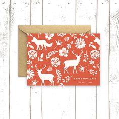 Deer Holiday Card Personalized Christmas от MooseberryPaperCo