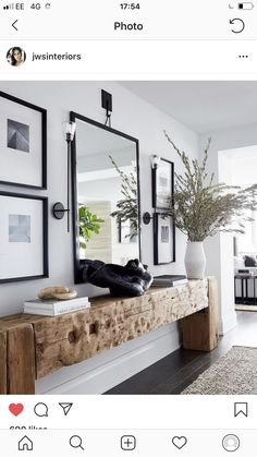 Kerry Washington turns a bare apartment into a cozy .-Kerry Washington verwandelt eine kahle Wohnung in ein gemütliches Einfamilienhaus – Architekt … – Holz Tisch DIY Kerry Washington turns a bare apartment into a cozy family home – architect …, house - Architectural Digest, Wooden Table Diy, Wood Entry Table, Entryway Console Table, Wooden Console Table, Bench In Hallway, Wooden Home, Black Entry Table, Hallway Table Decor