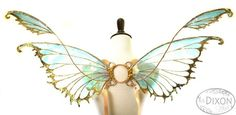 Tyche Small Cellophane Fairy Wings in Gold by RSDixonArt Fae Aesthetic, Sculpture Clay, Ceramic Sculptures, Victorian Flowers, Handmade Pottery, Handmade Ceramic, Decorative Hooks, Vintage Perfume Bottles, Fairy Wings