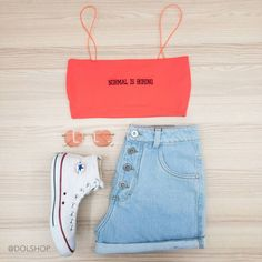 top neon normal is boring & mom jeans Lazy Outfits, Tumblr Outfits, Teenage Outfits, Cute Summer Outfits, Cute Casual Outfits, Outfits For Teens, Girl Outfits, Girls Fashion Clothes, Teen Fashion Outfits