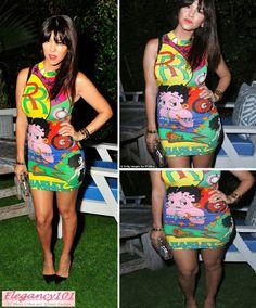 Black Betty Boop nails | Style: Kourtney Kardashian Vintage Versace Betty Boop Dress