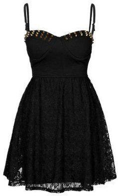 Cute black punk dress .<3