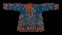 China, Xinjiang Uygur Zizhiqu region, assymetrical woman's tunic, Embroidered silk damask, applied with Indian patterned silk, 19th c
