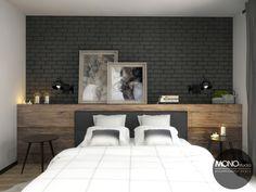 Ciemna cegła w połączeniu z drewnem bardzo dobrze sprawdza się również w sypialni.   Więcej o nas znajdziesz na www.monostudio.pl oraz facebook Projektowanie WNĘTRZ pod klucz MONOstudio.pl Chalet Style, Bedroom Inspo, Ikea, House Design, Wood, Inspiration, Furniture, Home Decor, Couple Room