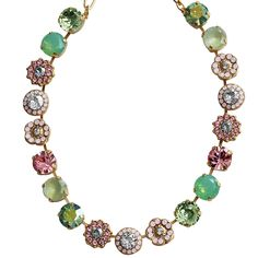 Mariana Gold Plated Large Flower Shapes Swarovski Crystal Necklace, 18 – Regencies
